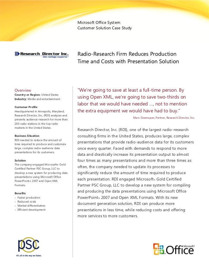 Microsoft Office System Customer Solution Case Study : Radio-Research Firm Reduces Production Time and Costs with Presentation Solution