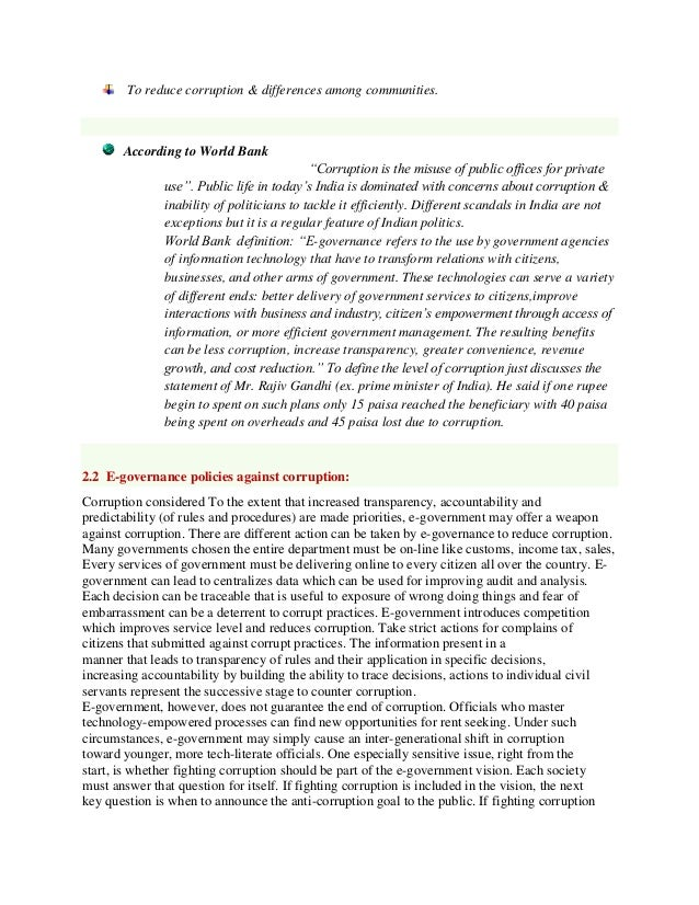 short essay on good governance in india The provisions in sfo aim to build up a good corporate governance structure not only for the good of individual companies but also for the benefits of the stakeholders including the public, ensuring fairness, stability and transparency of the financial market.