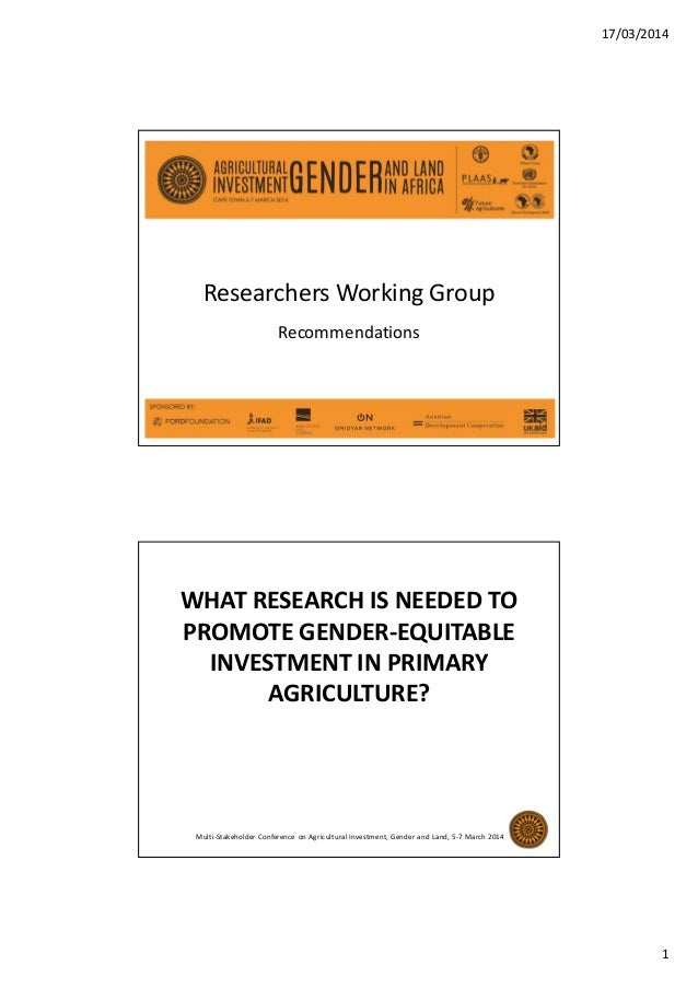 17/03/2014 1 Researchers Working Group Recommendations WHAT RESEARCH IS NEEDED TO PROMOTE GENDER-EQUITABLE INVESTMENT IN P...