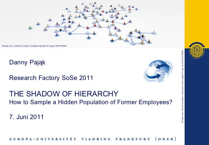 Danny Pająk   Research Factory SoSe 2011 THE SHADOW OF HIERARCHY How to Sample a Hidden Population of Former Employees? 7....