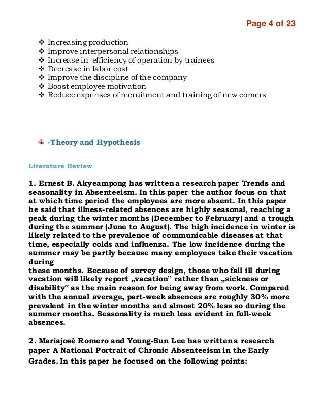 employee absenteeism research papers Research service background paper the views expressed in the paper do not necessarily reflect those of the research service or of absenteeism that care should be taken in the development of these programs to ensure that the majority of employees who do not abuse sick leave entitlements do.