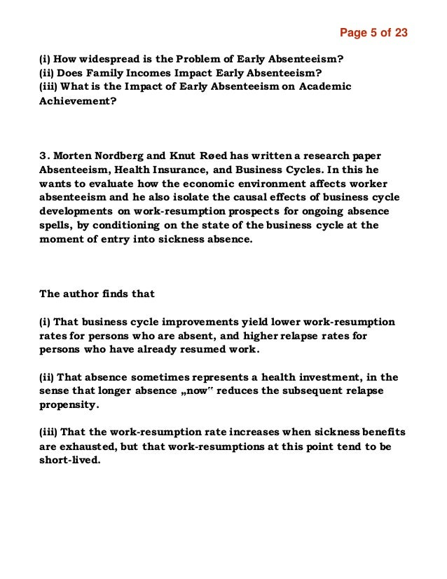 employee absenteeism research papers Causes of absenteeism research report 1 page 1 of 23 research methods for business research topic: causes and costs of absenteeism presented by: mariham helal  in this paper the author focus on that at which time period the employees are more absent in this paper he said that illness-related absences are highly seasonal, reaching a peak.