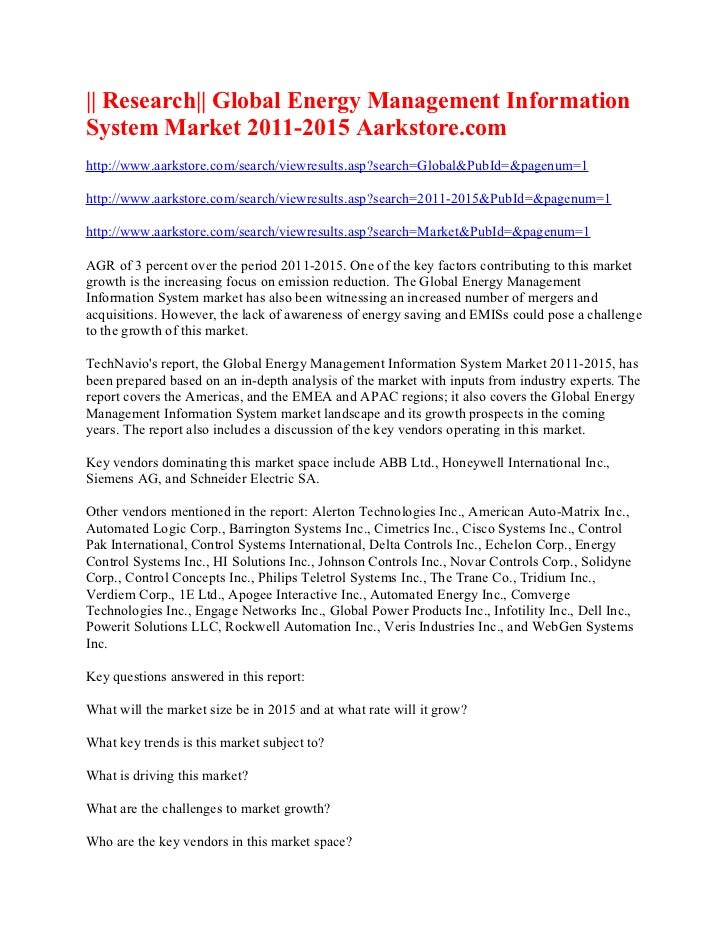 Research  global energy management information system market 2011 2015 aarkstore.com