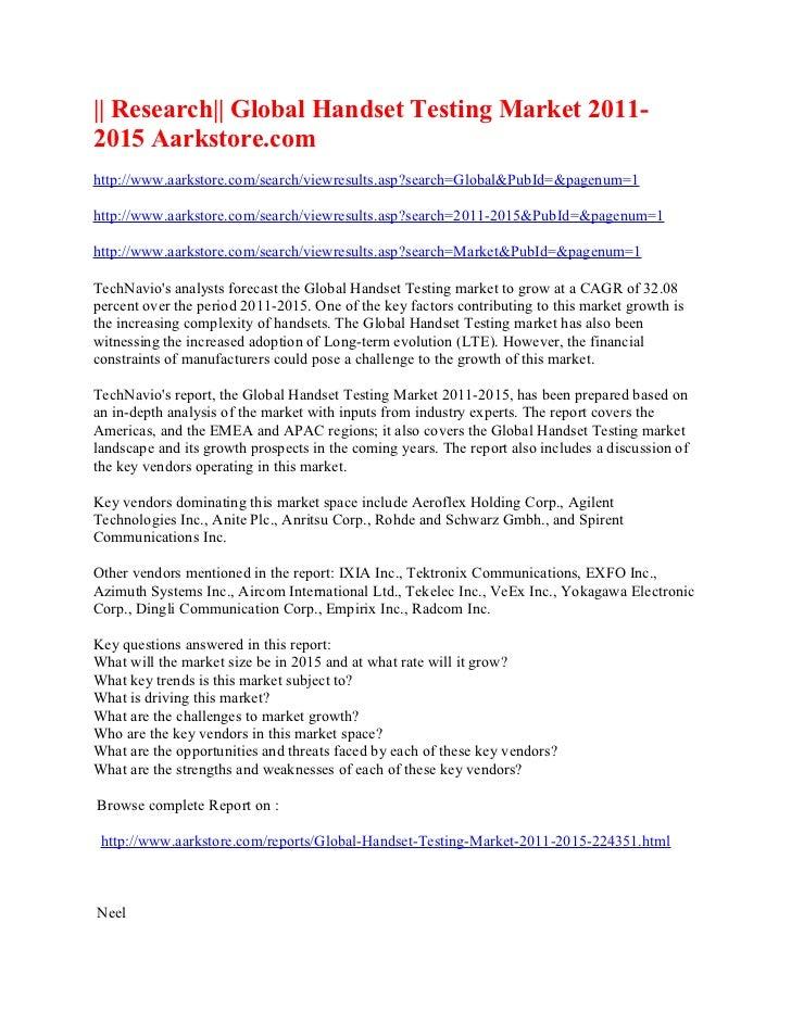 Research global handset testing market 2011 2015 aarkstore.com