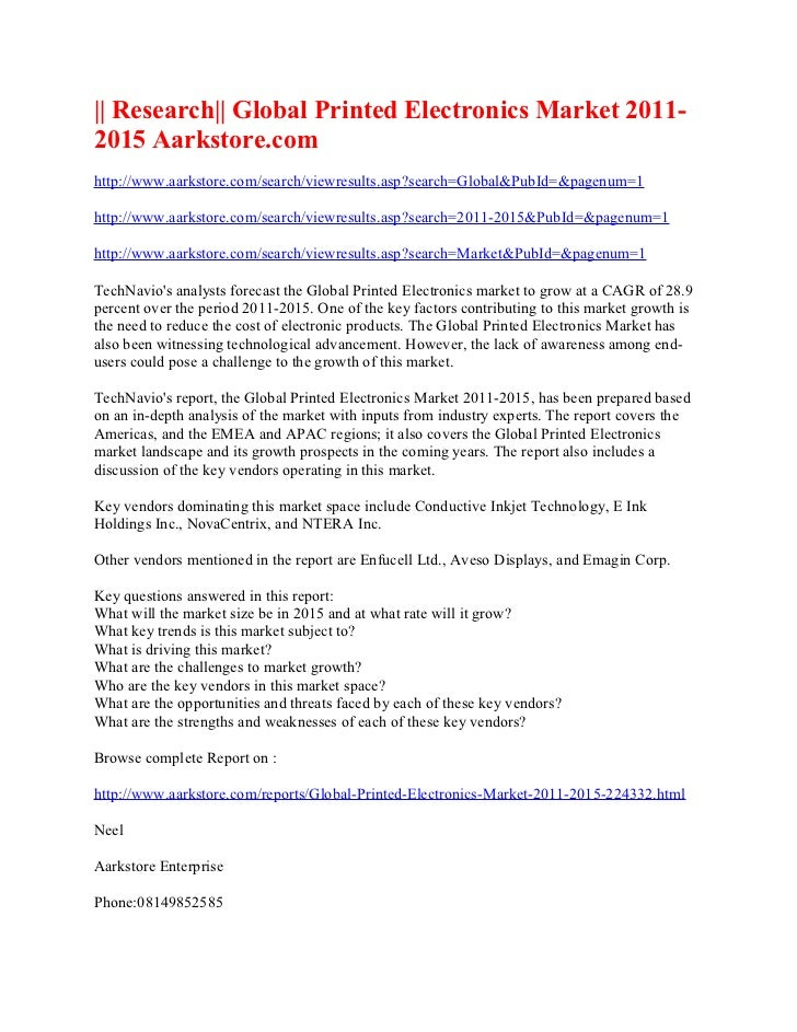 Research global printed electronics market 2011 2015 aarkstore.com