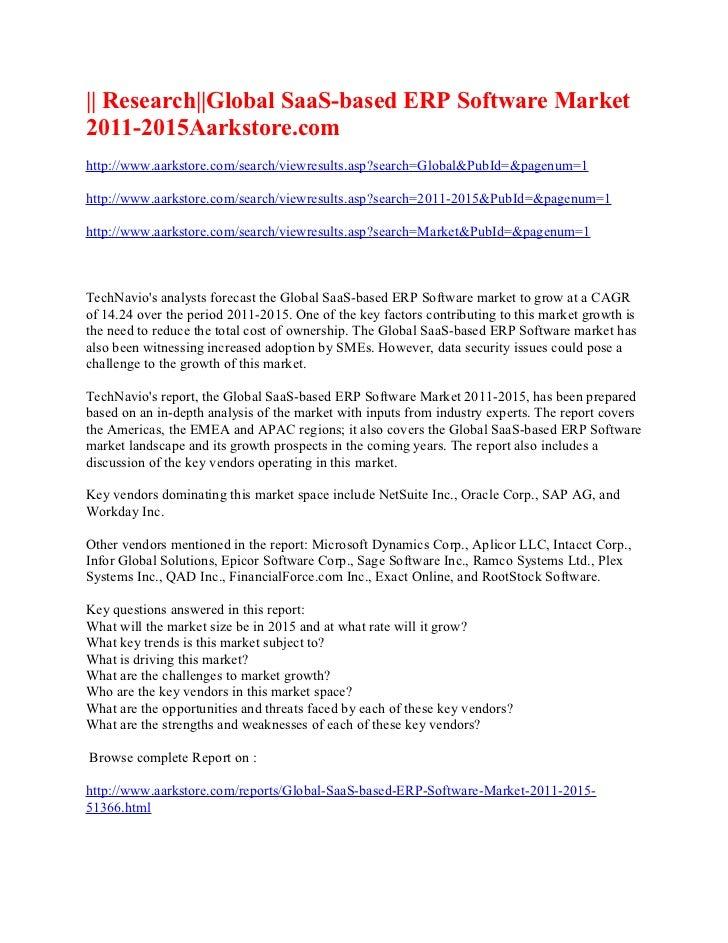 Research global saa s based erp software market 2011-2015aarkstore.com