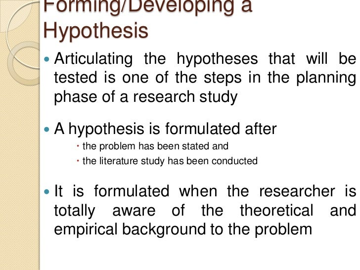 Write my developing hypothesis