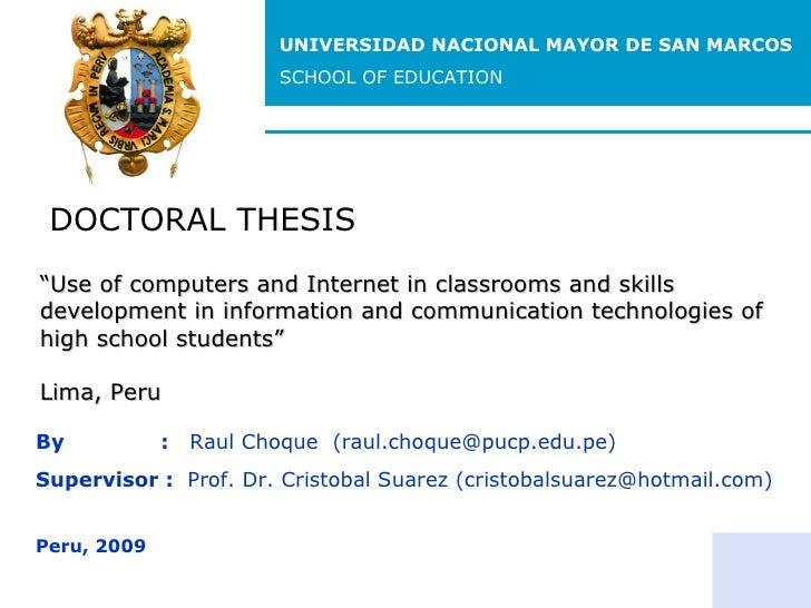 DOCTORAL THESIS By  :  Raul Choque  (raul.choque@pucp.edu.pe) Supervisor :  Prof. Dr. Cristobal Suarez (cristobalsuarez@ho...