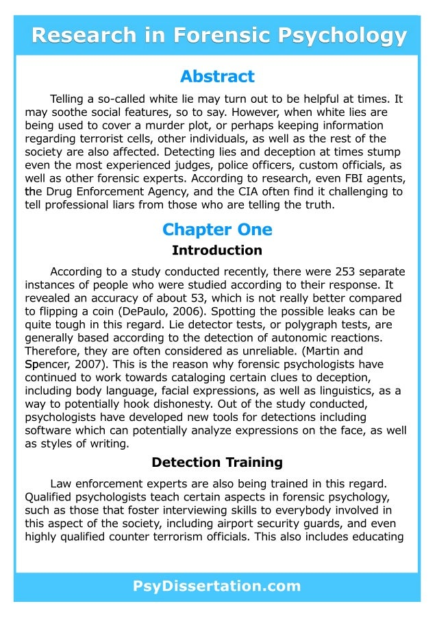 Forensic psychology dissertation ideas