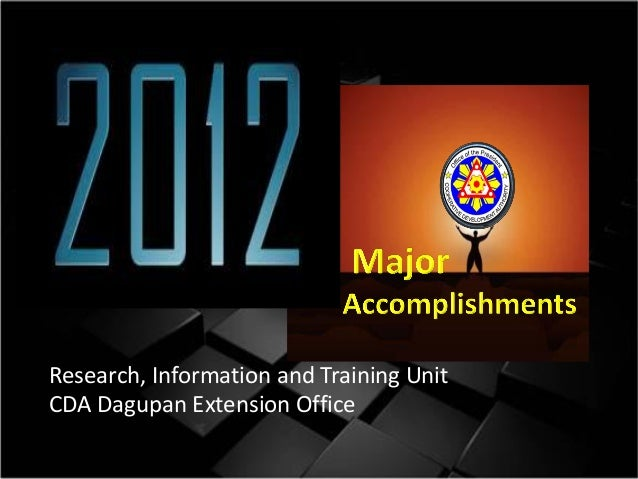 Research, Information and Training Unit CDA Dagupan Extension Office