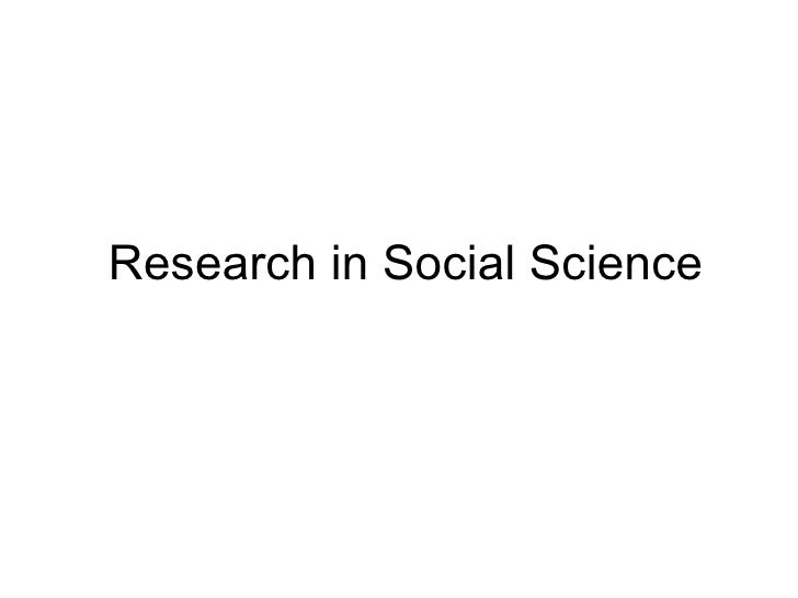 Research+In+ Social+ Science