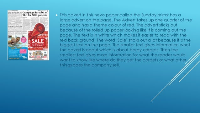 Research into sunday newspaper advertisements