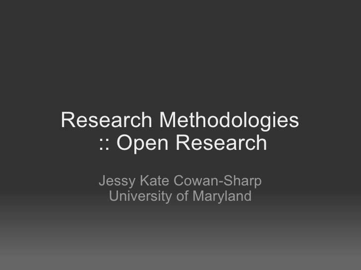 Open Research methodologies