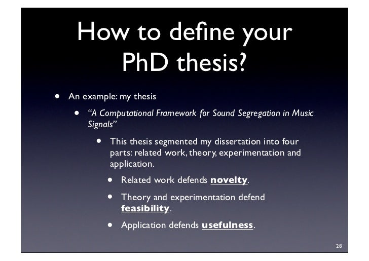 phd thesis novelty I would like to know what would be the level of novelty that one advisor should of novelty of an undergraduate thesis of a master or phd thesis.