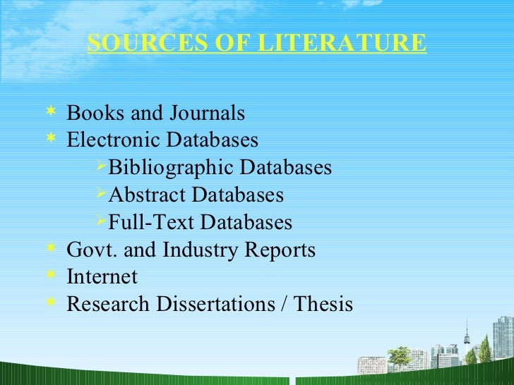 Literature review in research FC