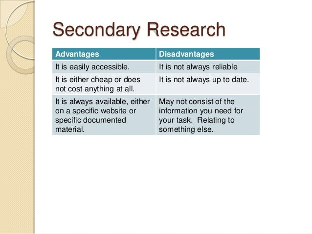 the advantages of primary research As a small-business operator, primary research can be an excellent way to gain advantage over your competition you can use primary research to assess the effectiveness of advertising and promotional campaigns with small groups before you invest substantial amounts in production and media you can conduct online.