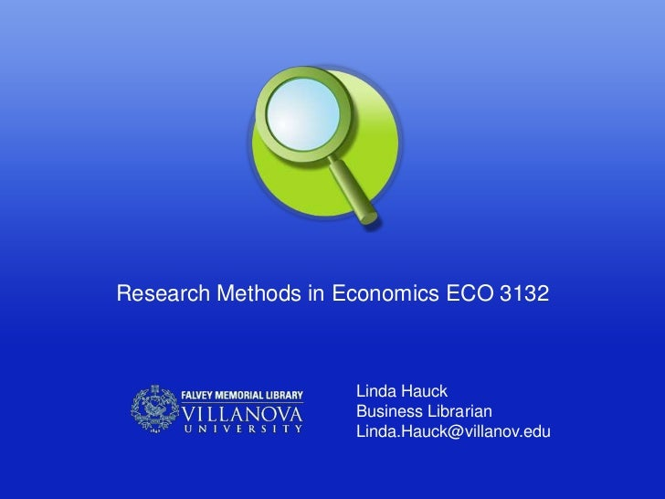 Research methods economics fall 2012