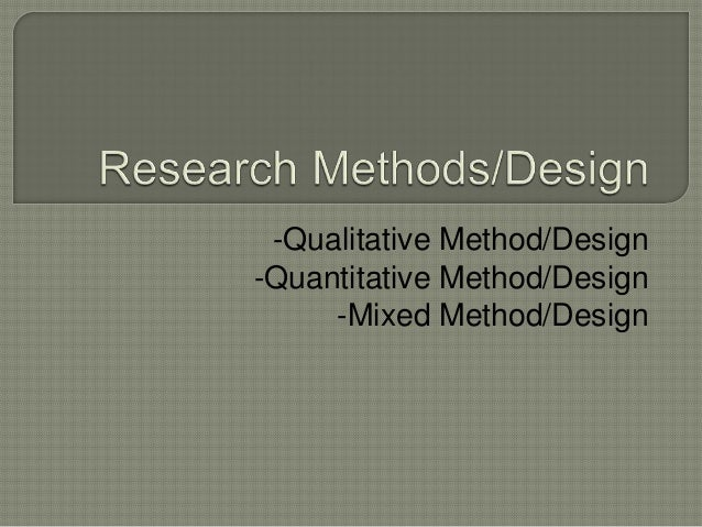 Research methods or approach
