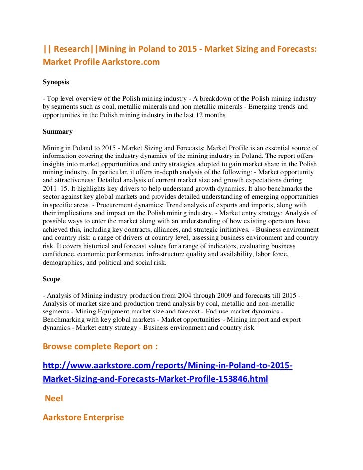 || Research||Mining in Poland to 2015 - Market Sizing and Forecasts:Market Profile Aarkstore.comSynopsis- Top level overvi...