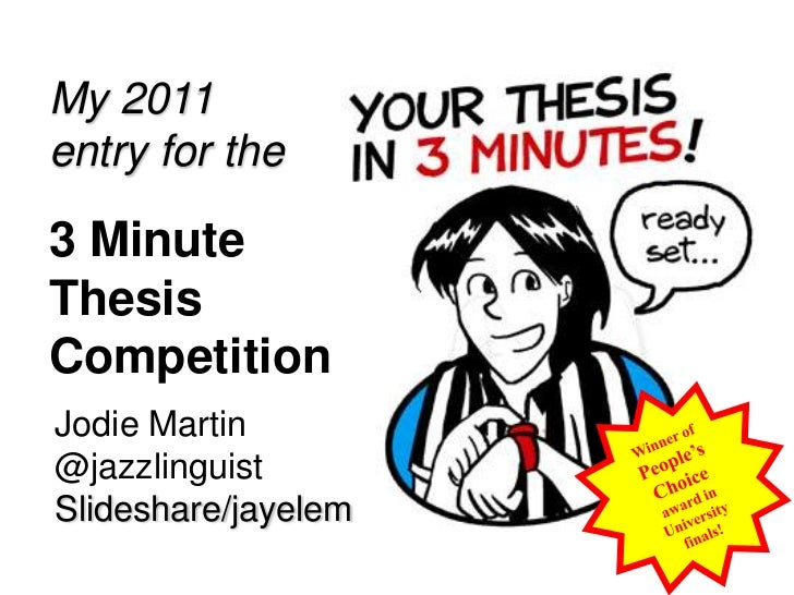 My 2011 entry for the <br />3 Minute Thesis Competition<br />Winner of People's Choice award in University finals!<br />Jo...