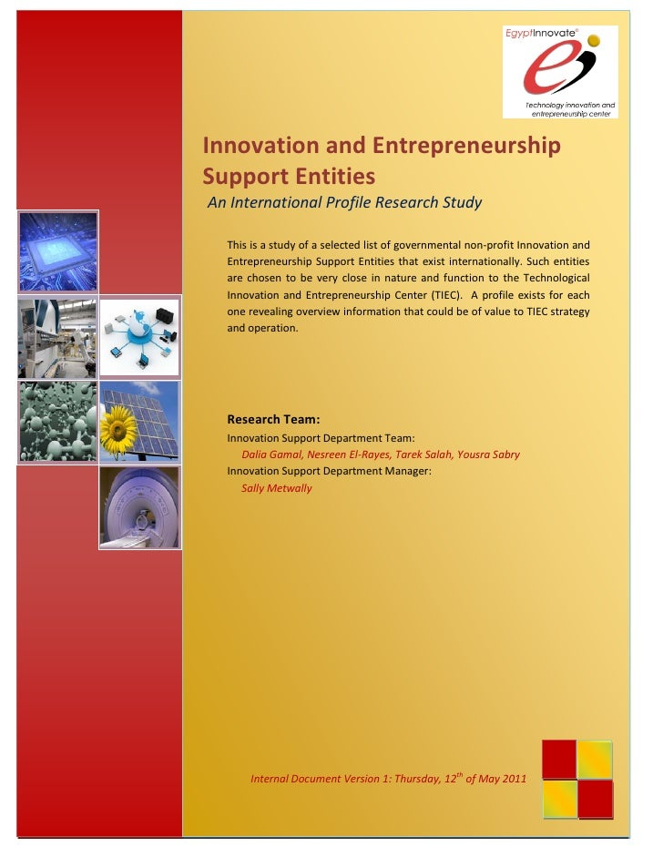 Innovation and Entrepreneurship               Support Entities               An International Profile Research Study      ...