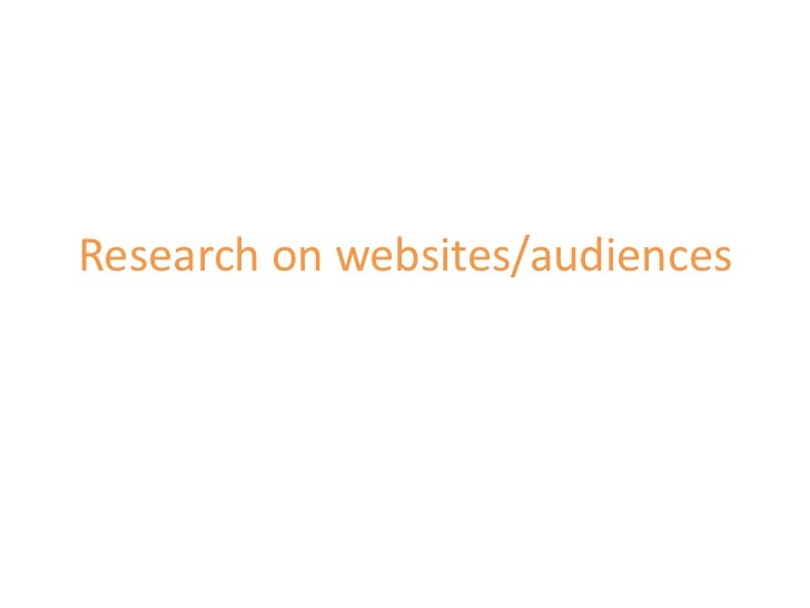 Research on websites/audiences<br />