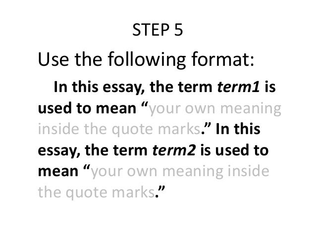 What is the correct way to include a definition in your essay?