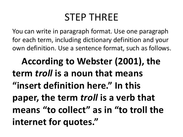 quoting a dictionary definition in an essay Want to learn about using quotation marks when citing information read on for advice.