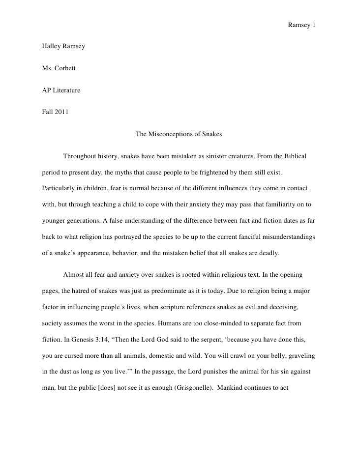 Ramsey 1Halley RamseyMs. CorbettAP LiteratureFall 2011                                  The Misconceptions of Snakes      ...