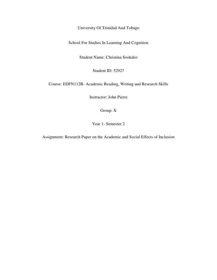 University Of Trinidad And Tobago              School For Studies In Learning And Cognition                    Student Nam...