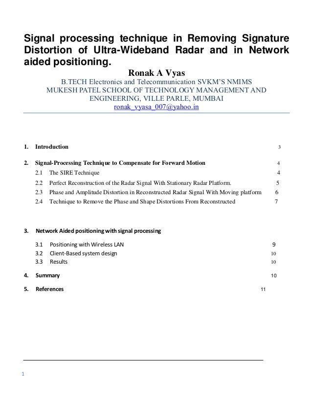 Signal processing technique in Removing SignatureDistortion of Ultra-Wideband Radar and in Networkaided positioning.      ...