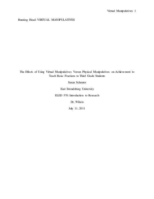 Research Paper on Virtual Manipulatives In the Math Classroom