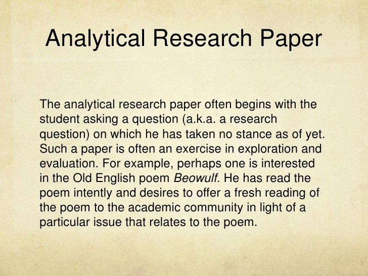 An analytical research paper often begins with