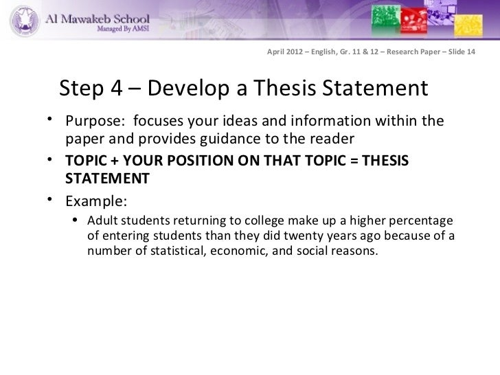 developing an argumentative thesis statement