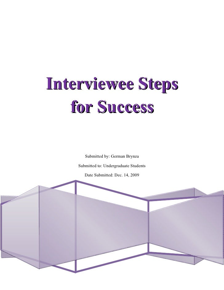 Interviewee Steps for Success – Research Paper