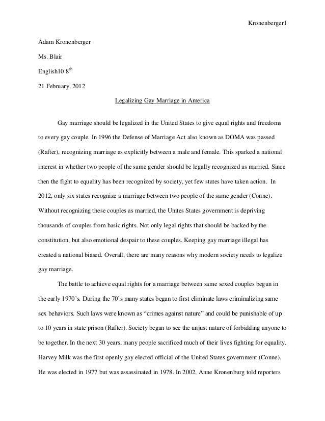 persuasive essay legalizing gay marriage