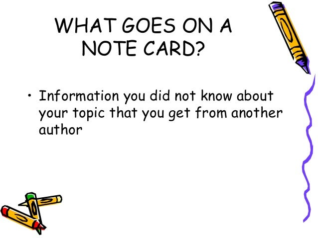 Note cards research paper