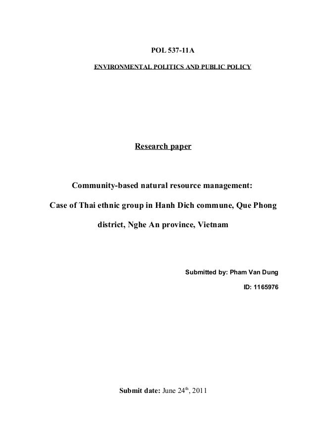 POL 537-11A           ENVIRONMENTAL POLITICS AND PUBLIC POLICY                     Research paper     Community-based natu...