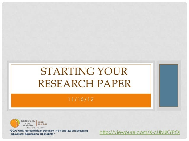 Starting a research paper