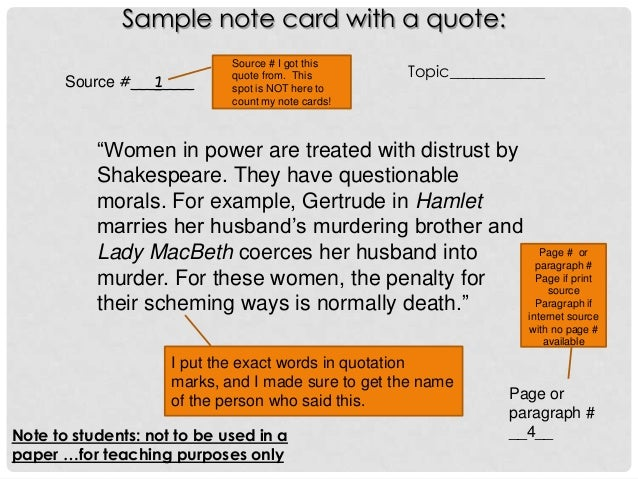 thesis index cards