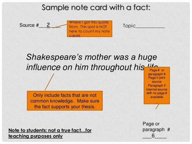 notecards research paper internet source