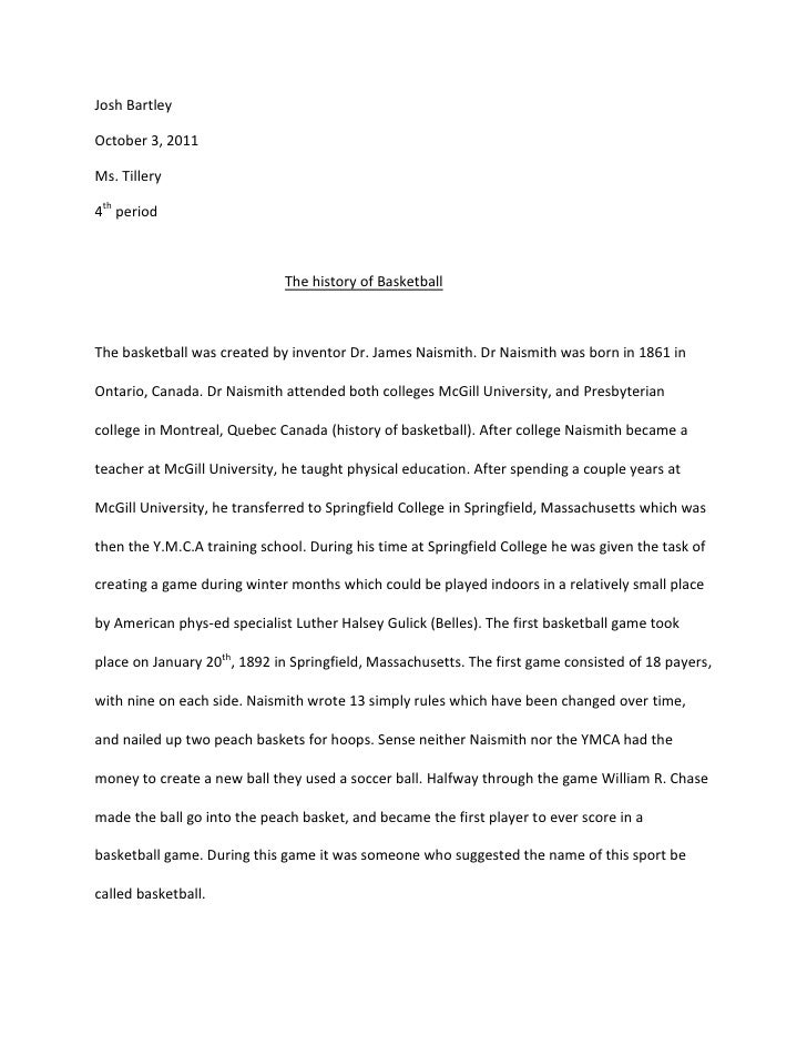 history of basketball term paper