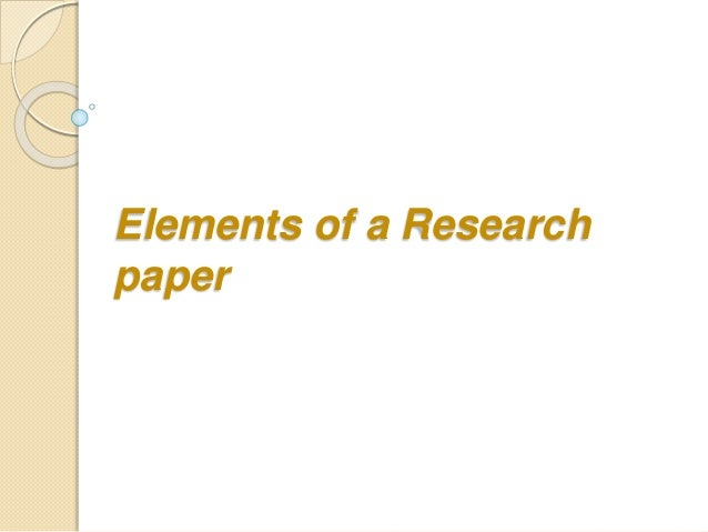 Elements of a research paper