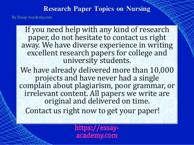 nursing topics for research paper