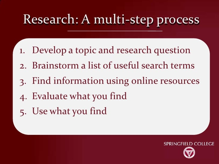 Research: A multi-step process<br />Develop a topic and research question<br />Brainstorm a list of useful search terms<br...
