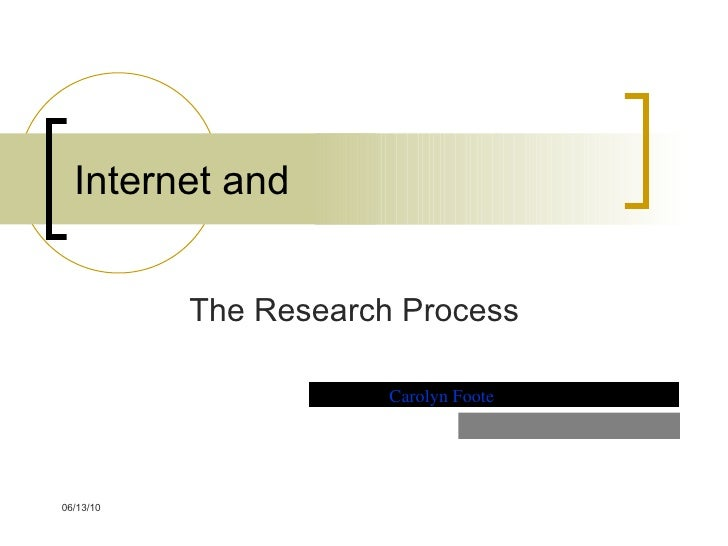 Internet and The Research Process Carolyn Foote