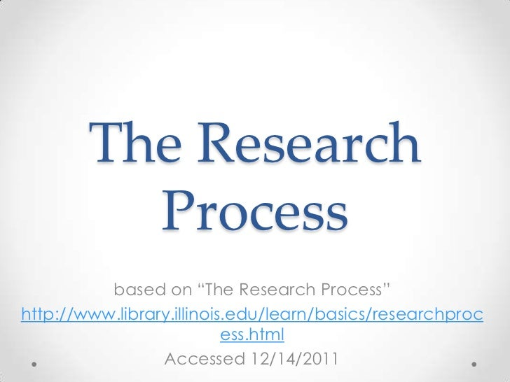 """The Research          Process          based on """"The Research Process""""http://www.library.illinois.edu/learn/basics/researc..."""