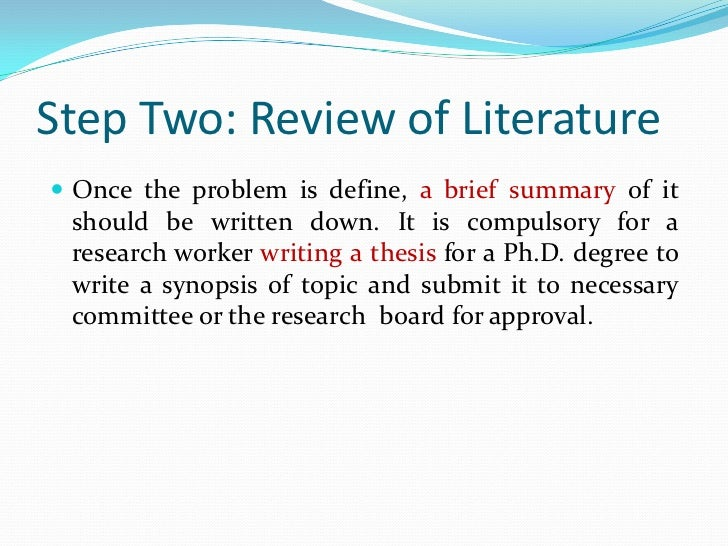 Steps To Writing A Literature Review