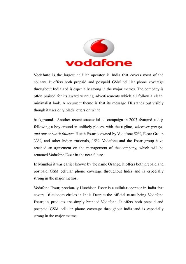comparative syudy of airtel and vodafone A research report on a comparative study on vodafone & airtel submitted in partial fulfillmentof the requirement of thedegree of mba session 2010-2012 under the.