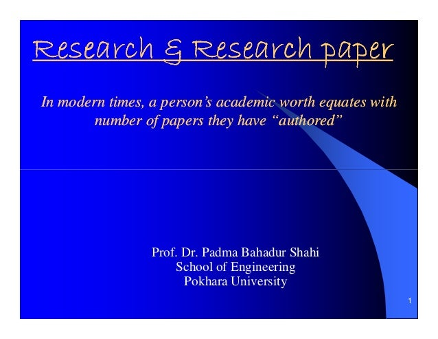 "Research & Research paperIn modern times, a person's academic worth equates with        number of papers they have ""author..."